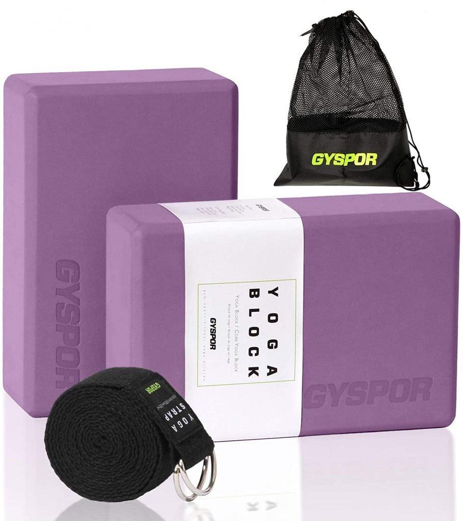 GYSPOR-Yoga-Blocks-2-Pack-Set-9x6x3-with-Yoga-Strap-and-Sports-Bag-Non-Slip-Surface-High-Density-EVA-Foam-Yoga-Block-for-Pilates-Stretching and Maintaining the Back myfreeyoge.com