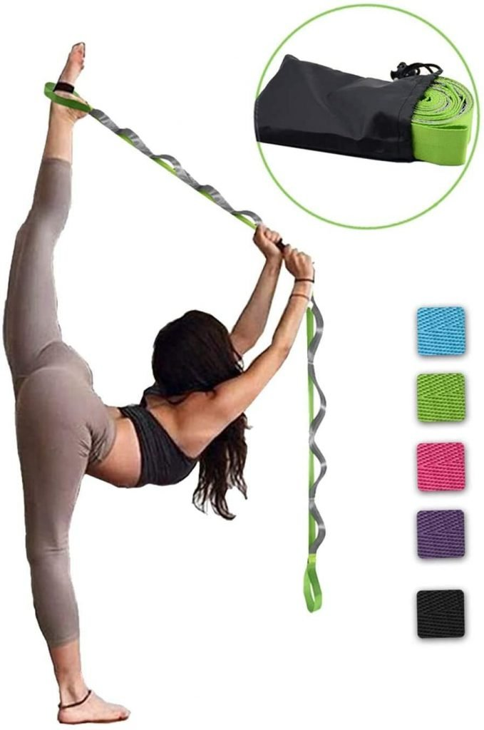 SANKUU-Yoga-Strap-Multi-Loop-Strap-12-Loops-Yoga-Stretch-Strap-Nonelastic-Stretch-Strap-for-Physical-Therapy-Pilates-Dance-and-Gymnastics-with-Carry-Bag-myfreeyoga.com